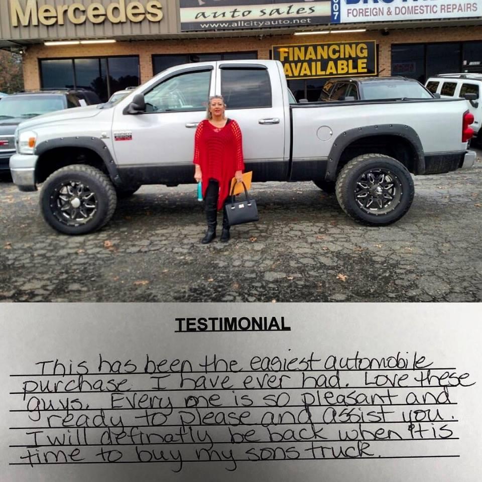 Customer Testimonials - All City Auto Sales Indian Trail NC