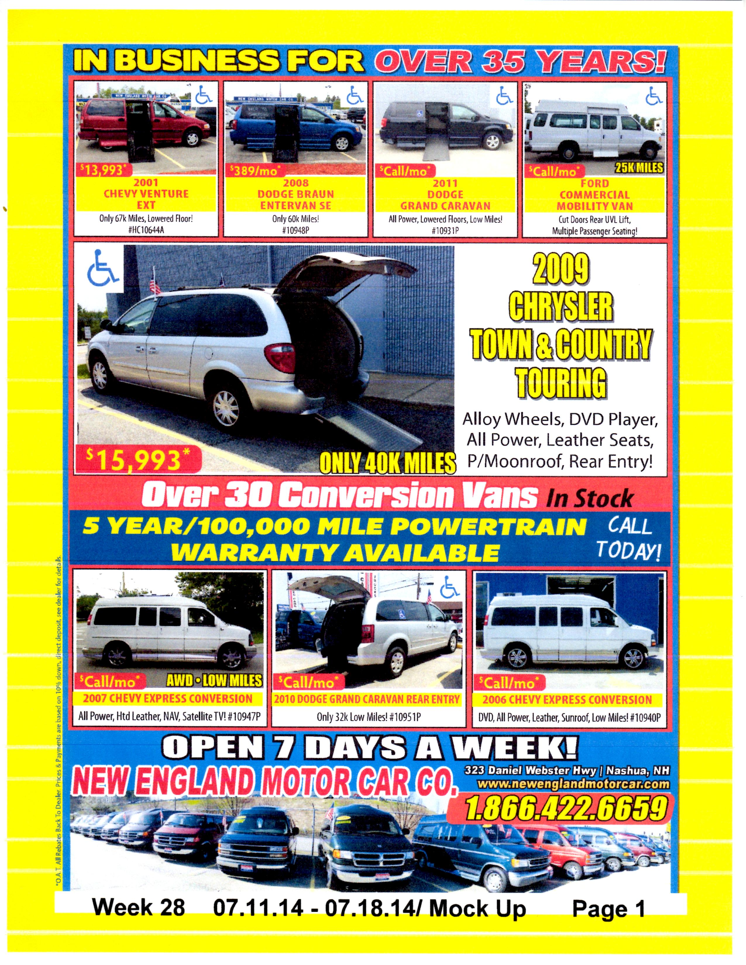 Handicapped Vans Vans Specials Hudson Nh 03051 New England Motor Car Company