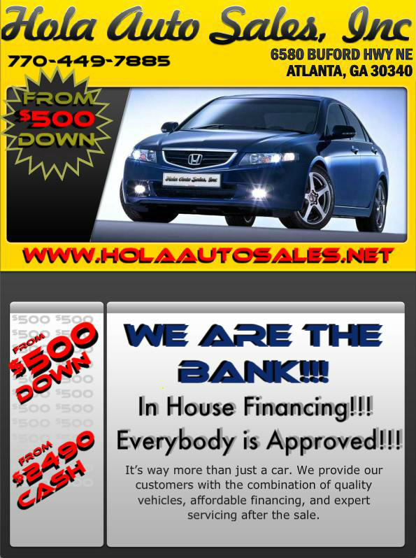 used cars bad credit auto loans specials atlanta ga 30340 hola auto sales. Black Bedroom Furniture Sets. Home Design Ideas