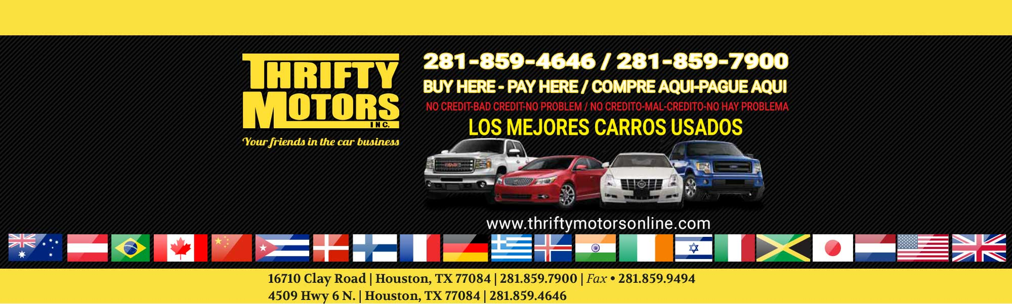 Buy Here Pay Here Houston >> Used Cars Financing Specials Houston Tx 77084 Thrifty Motors Inc