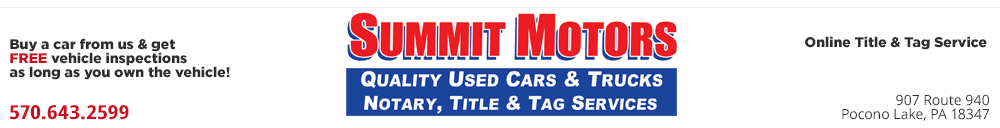 SUMMIT MOTORS INC - Pocono Lake, PA